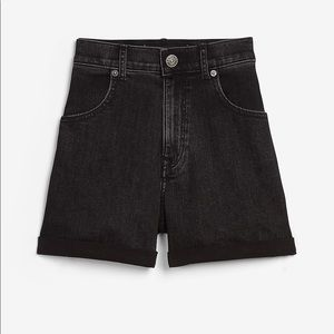 Super high waisted black rolled mom jean shorts